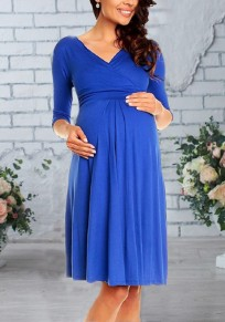 Sapphire Blue Deep V-neck 3/4 Sleeve High Waisted Baby Shower Maternity Midi Dress