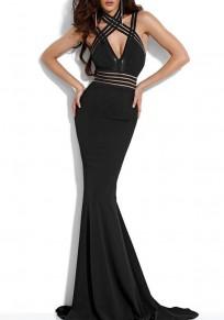 Black Cross Cut Out Zipper Backless Fashion Maxi Dress