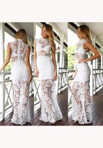 Weiße Blumen Spitze Unregelmäßige hoher Ansatz Mode Maxi Kleid