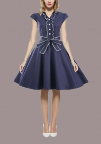 Blue Buttons Sashes Draped Tutu Bow V-neck Vintage Homecoming Party Midi Dress