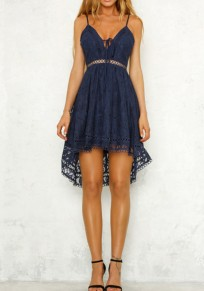 Blue Lace Spaghetti Strap Drawstring Lace-Up Deep V-neck Sweet Homecoming Party Midi Dress