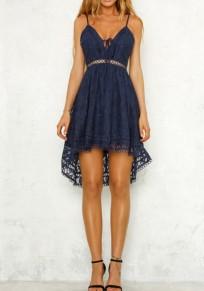 Mi-longue robe en dentelle bretelle à lacets dos nu irrégulière haut-bas mode bleu
