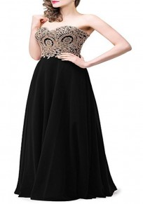 Black Patchwork Bandeau Off Shoulder Draped Elegant Prom Evening Party Maxi Dress