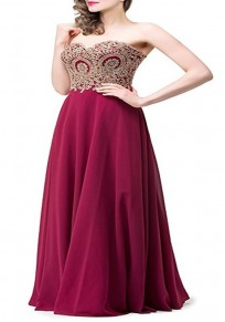 Wine Red Patchwork Bandeau Off Shoulder Draped Elegant Evening Party Maxi Dress