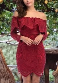 Mini abito pizzo floreale con volant sulla spalla senza schienale elegante clubwear homecoming partito rosso