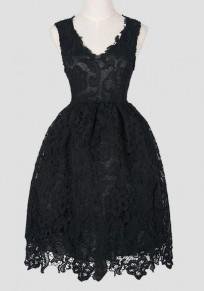 Vestido A media pierna plisado de encaje cuello redondo elegante fiesta de bienvenida al tutú negro
