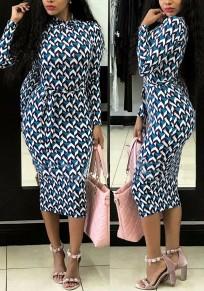 Black Geometric Sashes Plus Size Lace-up Bodycon Fashion Midi Dress