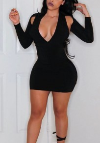 Black Cut Out Bodycon Deep V-neck Clubwear Party Mini Dress