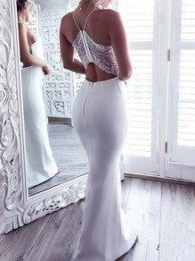 White Patchwork Lace Backless Bodycon Spaghetti Strap Prom Evening Party Maxi Dress