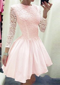 Pink Patchwork Lace Pleated Long Sleeve Tutu Homecoming Party Sweet Cute Mini Dress
