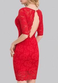 Mini vestido corte sin espalda v-cuello manga codo vestido de encaje bodycon mini rojo