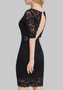 Mini vestido corte sin espalda v-cuello manga codo vestido de encaje bodycon mini negro