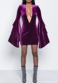 Purple Ruffle Bell Sleeve Plunging Neckline Pleuche Clunwear Mini Dress