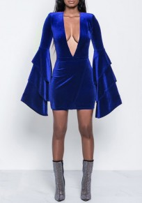 Blue Ruffle Bell Sleeve Plunging Neckline Pleuche Clunwear Mini Dress