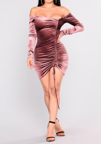 Pink Drawstring Ruffle Boat Neck Long Sleeve Fashion Mini Dress
