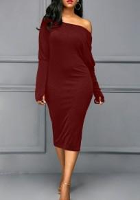 Burgundy Cut Out Dolman Sleeve Off Shoulder Plus Size Bodycon Casual Midi Dress