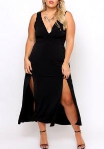 Black Condole Belt Side Slit Plus Size Prom Evening Party Clubwear Maxi Dress