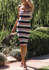 Pink Striped Zipper Bodycon Spaghetti Strap Color Block Cute Midi Dress