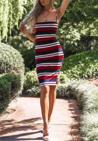 Red Striped Zipper Bodycon Spaghetti Strap Color Block Cute Midi Dress