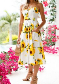 White Sunflower Print Pockets Buttons Pleated Spaghetti Strap Backless Vegas Sweet Midi Dress