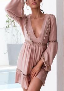 Pink Cut Out Tessal Deep V-neck Flare Sleeve Flowy Sweet Vegas Mini Dress