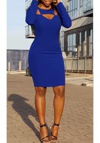 Blue Cut Out Zipper Bodycon Long Sleeve Clubwear Party Cute Midi Dress