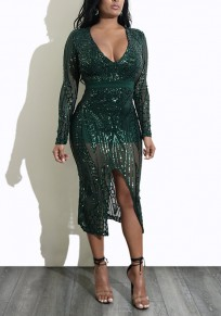 Dark Green Floral Sequin Side Slit Plunging Neckline Long Sleeve Midi Dress