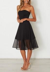 Mi-longue robe bustier tutu tulle sans manches élégant de soirée noir