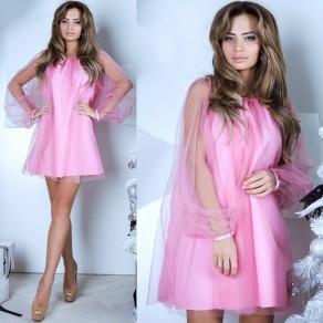 Pink Patchwork Grenadine Ruffle Round Neck Fashion Mini Dress