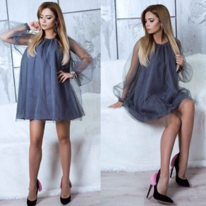 Mini vestido adina volante cuello redondo moda gris