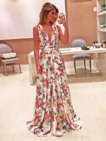 Apricot Floral Print Plunging Neckline Fashion Maxi Dress