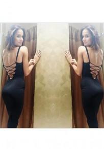 Midi-robe bretelle dédécoupes dos croisé v-col noir