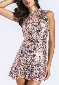 Rose Gold Mosaic Sequin Peplum Sparkly Mermaid Band Collar Bodycon Party Mini Dress