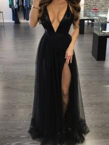 Robe longue avec paillette tulle fendu dos nu décolleté plongeant mode noir