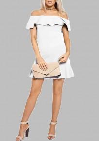 Mini vestido colmena plisada bodycon fuera del hombro invitados de la boda fiesta linda formal blanco