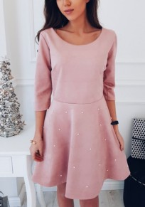 Pink Patchwork Beading Round Neck Sweet Mini Dress