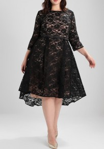 Black Floral Lace Irregular Pleated High-low Plus Size Elegant Homecoming Party Midi Dress