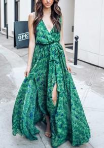 Robe longue boho imprimé à fleurs fendu ceinture v-cou sans manches élégant verte