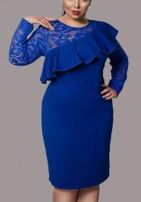Blue Patchwork Lace Ruffle Cut Out Bodycon Plus Size Formal Elegant Midi Dress