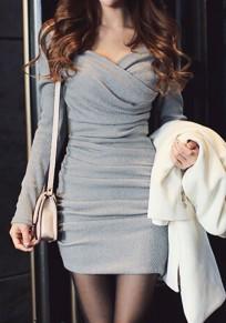Grey Plain Ruffle V-neck Long Sleeve Party Mini Dress