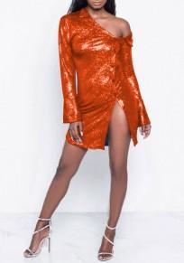 Mini robe une épaule poitrine paillette côté fente scintillante clubwear party rouge