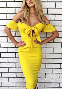 Yellow Cut Out Bow Off Shoulder Backless Bodycon Party Fashion Midi Dress