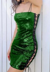 Green Plain Condole Belt Drawstring Zipper Fashion Mini Dress
