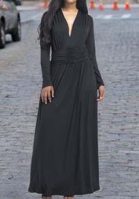 Black Draped Plunging Neckline Long Sleeve Maxi Dress