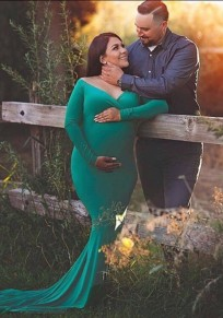 Green Draped Off Shoulder Backless Deep V-neck Maternity Photoshoot Elegant Maxi Dress