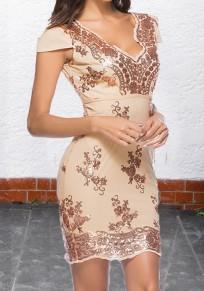 Mini-robe à fleurs paillette dos nu moulante v-cou manches courtes de cocktail or