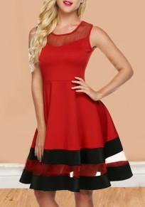 Rotes Flickwerk Granatapfellikör hoch taillierte Schlittschuhläufer Tutu Elegantee Valentinstag Partei Midi Kleid