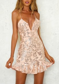 Pink Floral Sequin Cross Back Ruffle Lace-up Backless Deep V-neck Party Mini Dress