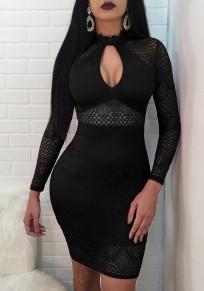 Vestido A media pierna encaje con abertura en la cremallera Y bodycon fiesta clubwear negro