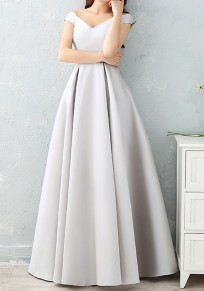 Grey Pleated Bow Lace-up V-neck Short Sleeve Maxi Dress